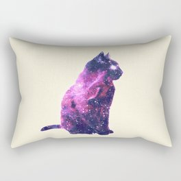 Whimsical Purple Nebula Cat Pink Galaxy Stars Rectangular Pillow