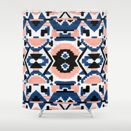 Geometric Aztec - coral and lapis Shower Curtain