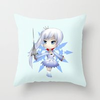 rwby Throw Pillows featuring Weiss by Louiology