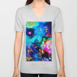 abstract cosmic blue Unisex V-Neck