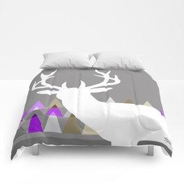 Deer Head Geometric Triangles | purple grey Comforters