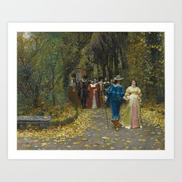 The Lovers (Les Fiances) Amazing Landscape Painting by Firmin-Girard Art Print