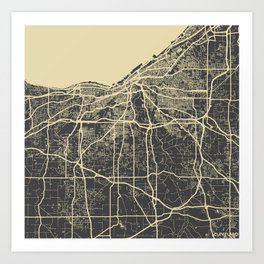 Cleveland map yellow Art Print
