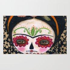 Frida The Catrina - Dia De Los Muertos Painted Skull Mixed Media Art Rug