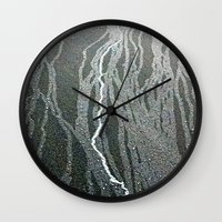 lightning Wall Clocks featuring Lightning  by Ethna Gillespie