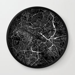 Rome Black Map Wall Clock