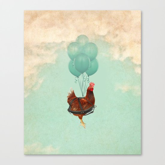 """Chickens can't fly (""""The sky is falling!"""") Canvas Print"""