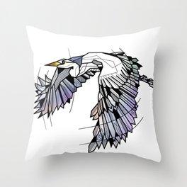 Heron Geometric Bird Throw Pillow