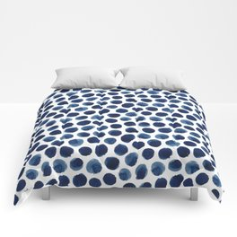 Large Indigo/Blue Watercolor Polka Dot Pattern Comforters