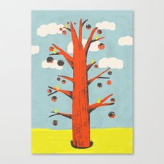 Red Tree, Yellow Birds Canvas Print