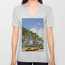Yellow Cabs On Ocean Drive Unisex V-Neck