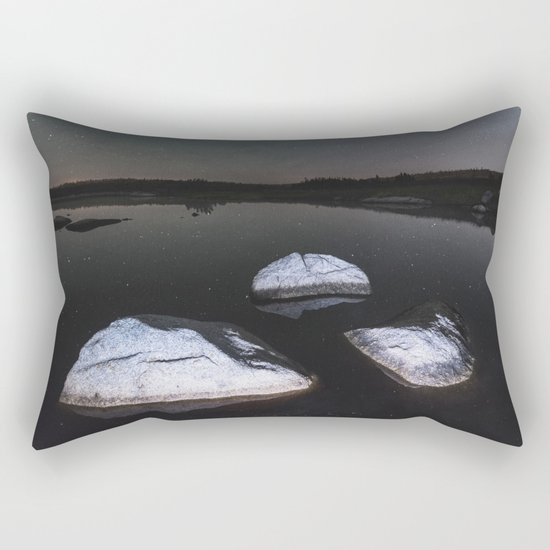 Boulders in Black Rectangular Pillow