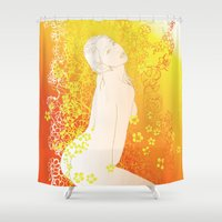 erotic Shower Curtains featuring Floral Beauty  by Stevyn Llewellyn
