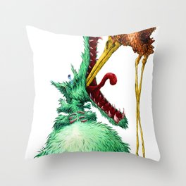 THE WOLF AND STORK Throw Pillow