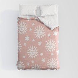 Mid Century Modern Sun and Star Pattern Dusty Rose Comforters