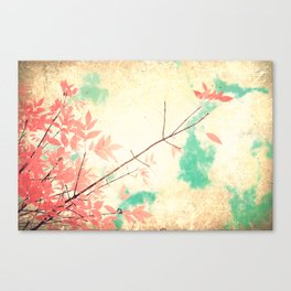 Textured Fall (Vintge Fall pink - orange leafs on textured clouds and blue sky) Canvas Print