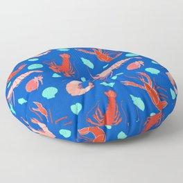Dance of the Crustaceans in Ocean Blue Floor Pillow