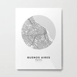 Buenos Aires Circle Map Metal Print