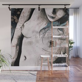Rotten Apple: Turquoise (nude topless girl, erotic graffiti portrait) Wall Mural