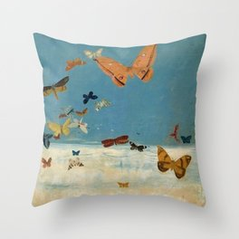 Butterflies Flying Above Clouds portrait painting, Circa 1934 by Migishi Kōtarō  Throw Pillow