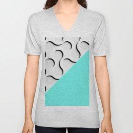geometric in blue Unisex V-Neck