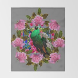 GREY COLOR PINK ROSES &  GREEN PEACOCK ART Throw Blanket