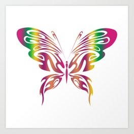 Beautiful Rainbow Colored Butterfly Art Print