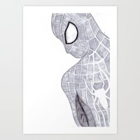 superhero Art Prints featuring superhero by Art_By_Sarah
