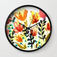 Watercolor Wildflowers Wall Clock