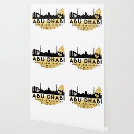 ABU DHABI UNITED ARAB EMIRATES SILHOUETTE SKYLINE MAP ART Wallpaper