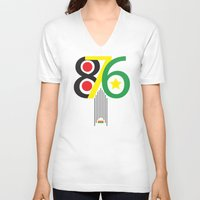 jamaica V-neck T-shirts featuring 876 Jamaica Area Code Print by Ahfimi Brands