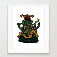 ganesha Framed Art Prints featuring Ganesha by Nip Rogers