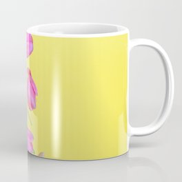 View to the easter pink tulips over yellow paper Coffee Mug