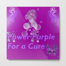 Power Purple For a Cure - Mystical Metal Print
