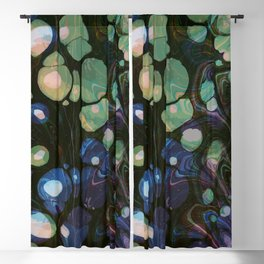 Abstract Painting - Marbling Art 01- Fluid Painting - Blue Green, Black Abstract - Modern Abstract Blackout Curtain
