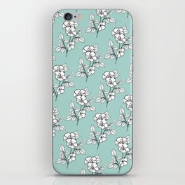 Duchess Teal White Flowers iPhone Skin