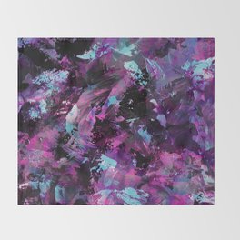 Dark Necessities - Abstract, textured, blue and purple oil painting Throw Blanket