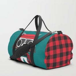 Raccoon in Red Buffalo Plaid Sweater Duffle Bag