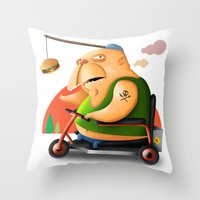 motivation Throw Pillows featuring Motivation by Sloe Illustrations