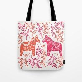 Swedish Dala Horses – Melon Palette Tote Bag