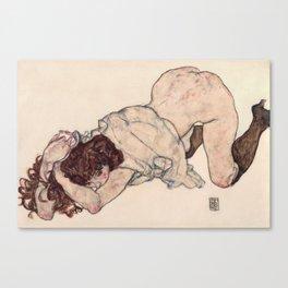 Egon Schiele - Kneeling Girl, Resting on Both Elbows Canvas Print