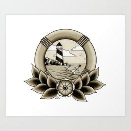 Ship Wreck Lighthouse Tattoo Art Print