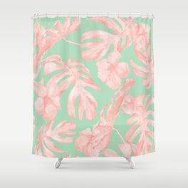 Tropical Palm Leaves Hibiscus Pink Mint Green Shower Curtain
