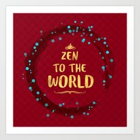 Zen to the World - Red, blue and gold  Art Print