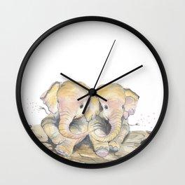 Happy Little Elephants Wall Clock
