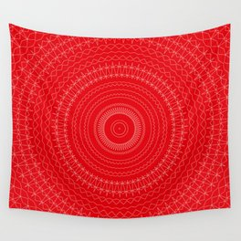 Bright Red White Mandala Wall Tapestry