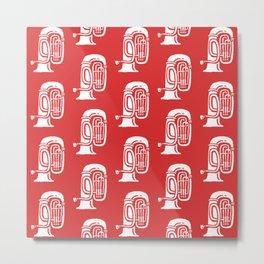 Tuba Pattern Red Metal Print
