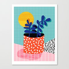 No Way - wacka potted house plant indoor cute hipster neon 1980s style retro throwback minimal pop  Canvas Print