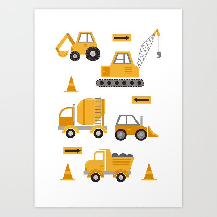 Construction Trucks Art Print