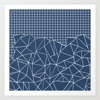 Ab Outline Grid Navy Art Print